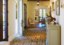 Flooring adds to the Mediterranean vibe of the entry