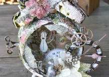 Flowery altered alarm clock with lots of extra details