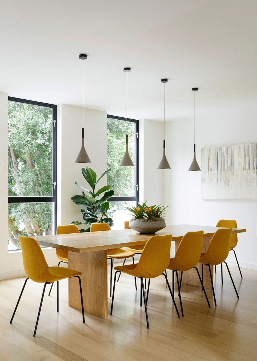 Formal dining room with large wooden table