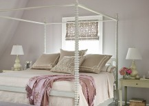 Four poster bed and pastel purple backdrop blend modernity with Victorian elegance