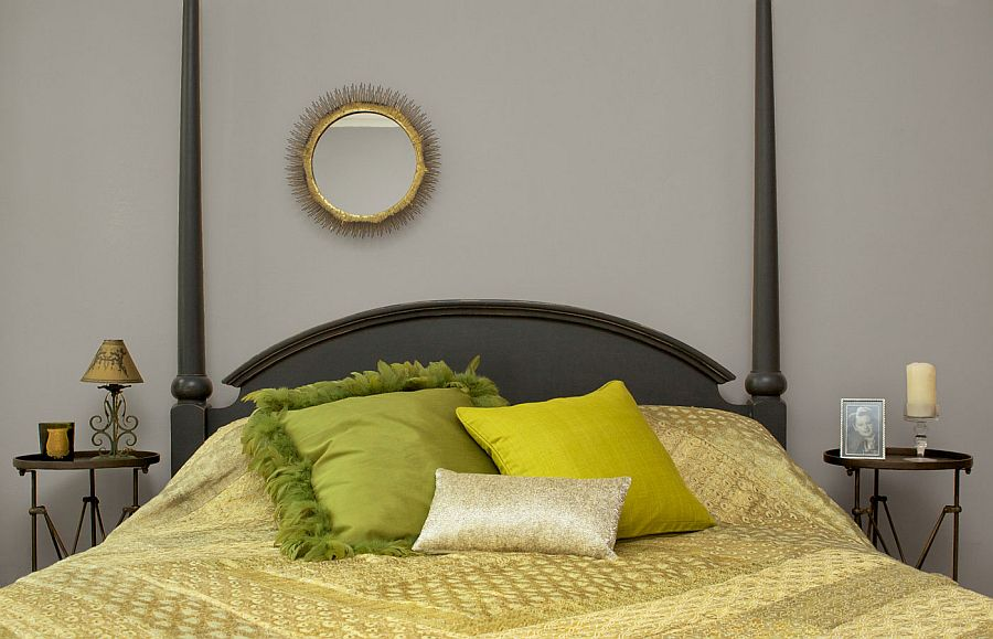 Four poster bed in the modern bedroom with a hint of green