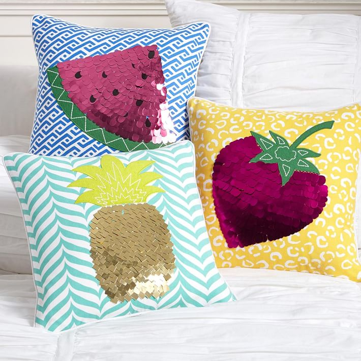 Fruit-themed pillow covers from PB Teen