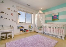 Fun and bright nursery design for the baby girl 217x155 20 Chic Nursery Ideas for Those Who Adore Striped Walls
