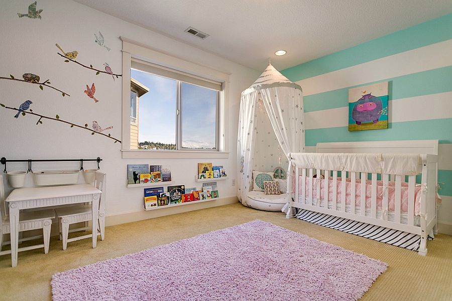 View In Gallery Fun And Bright Nursery Design For The Baby Girl Design Imagine Home Staging And