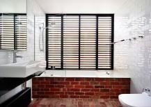 Fun way to showcase exposed brickwork in the modern bathroom