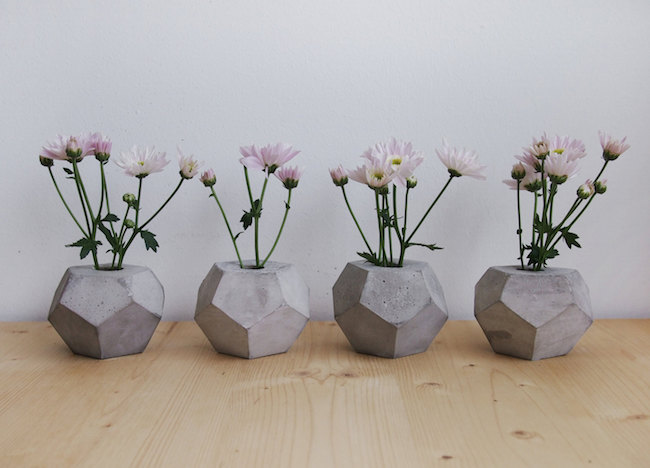 Geometric concrete flower vases