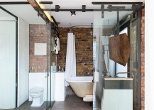 Glass and brick fashion a lovely fusion of contemporary and industrial styles in the bathroom