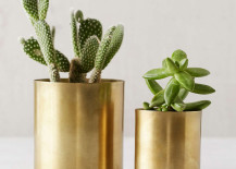 Gold metal planters from Urban Outfitters