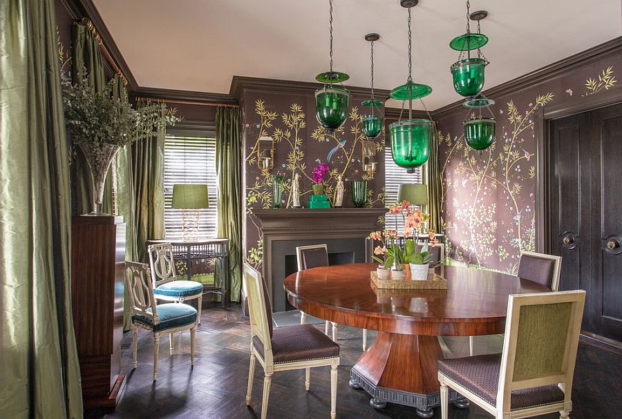Gorgeous chandelier adds a dash of green to the dining room [From: Eric Roth Photography]
