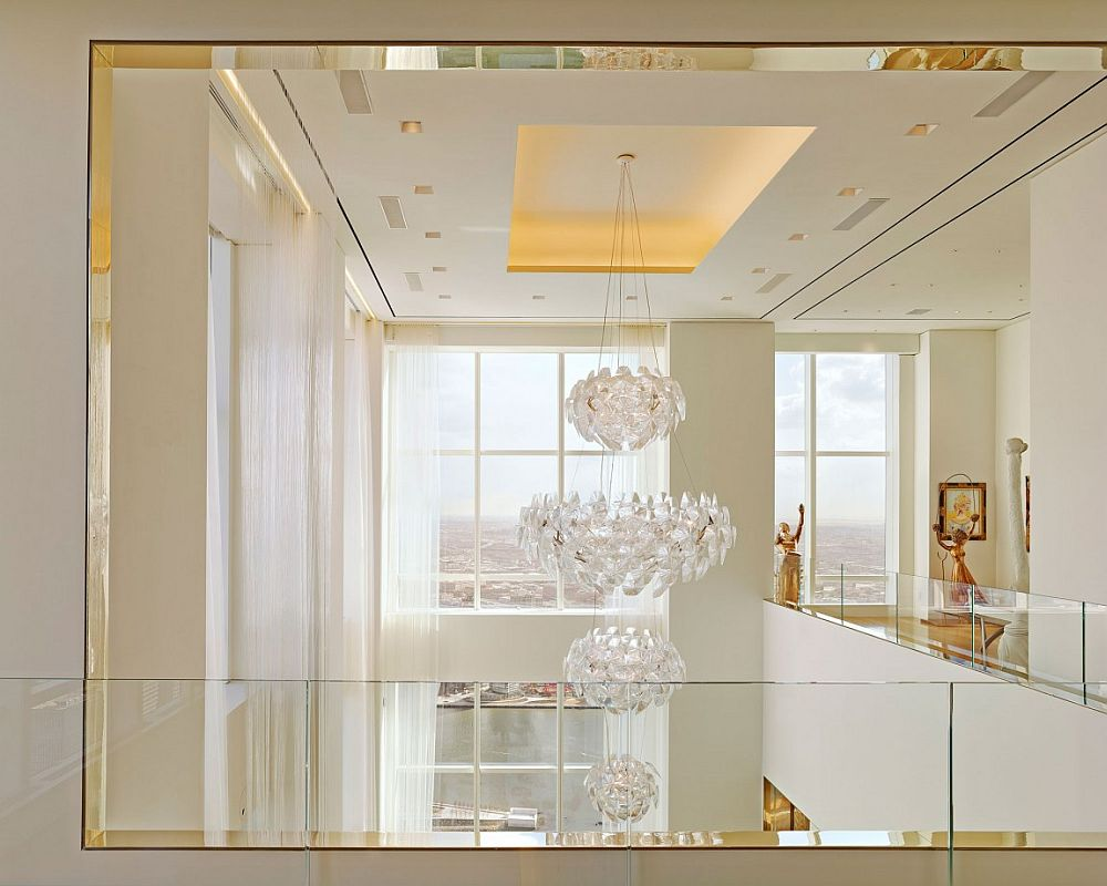 Gorgeous chandelier viewed from the top level of the private apartment