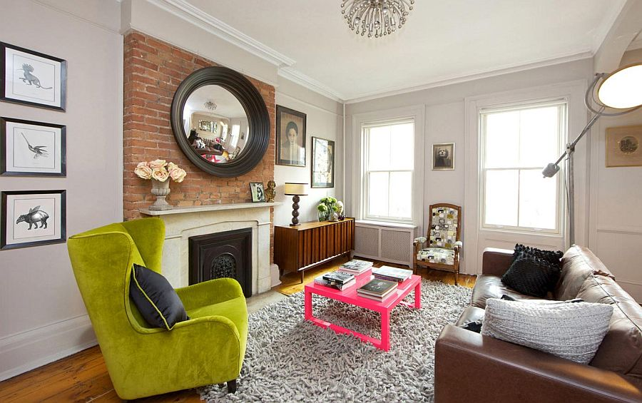 Vibrant new york city townhouse cuts across styles and eras for Living room nyc