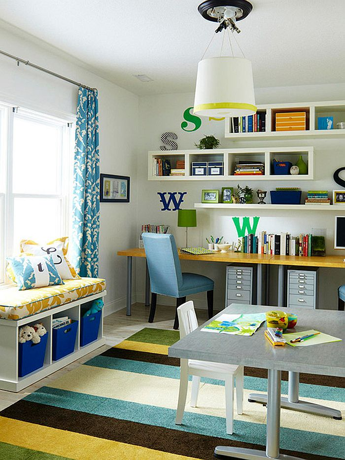 Multipurpose magic creating a smart home office and for Kid friendly family room design