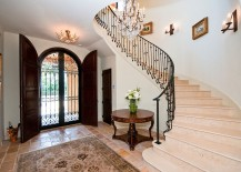 Gorgeous double door entry and spiral staircase