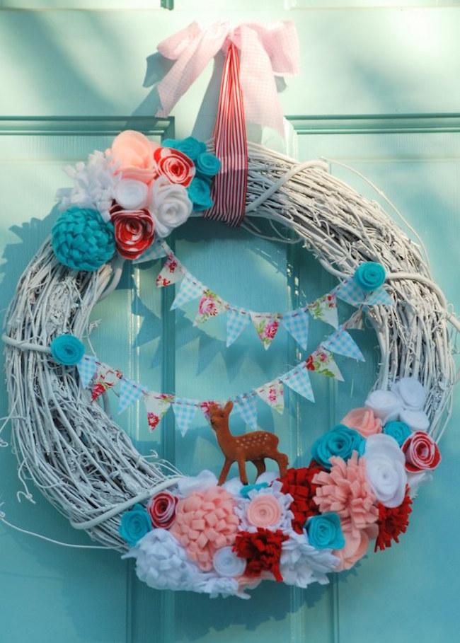 Grapevine wreath with colorful details for Valentine's Day