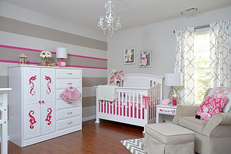 Gray and white nursery with a hint of pink [Design: KJ Design Works]