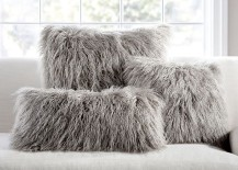 Gray faux fur pillows from Pottery Barn