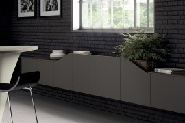 Gray living room wall mounted unit from Scavolini 270x180 Flux Swing: Dynamic Living Room Compositions with Modular Ease