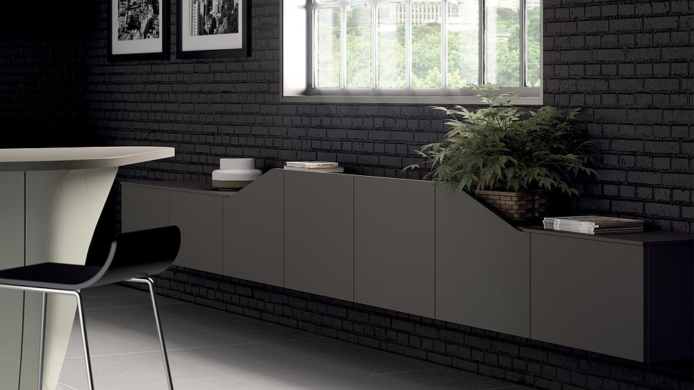 Gray living room wall-mounted unit from Scavolini