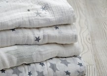 Grey star swaddling blankets from Aden & Anais