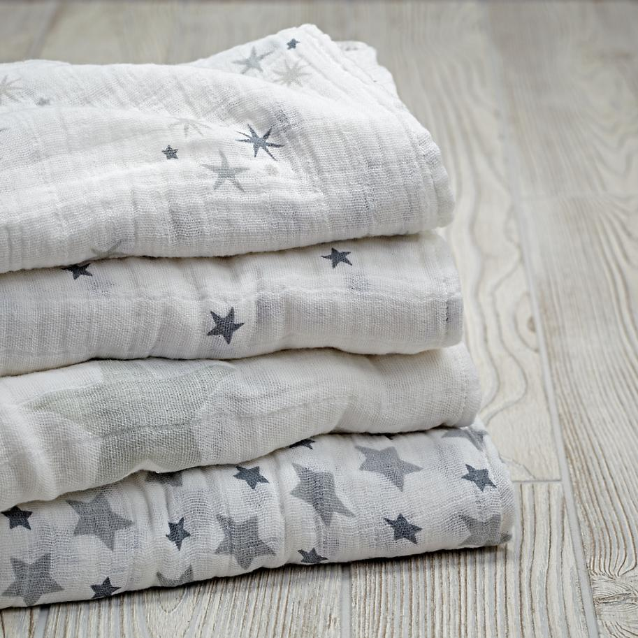 Grey star swaddling blankets from Aden + Anais