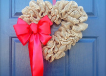Heart-shaped Valentine's Day wreath made from burlap
