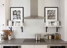 Herringbone tile backsplash in the kitchen