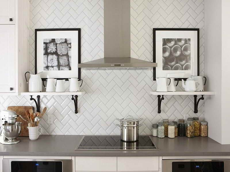 View In Gallery Herringbone Tile Backsplash In The Kitchen