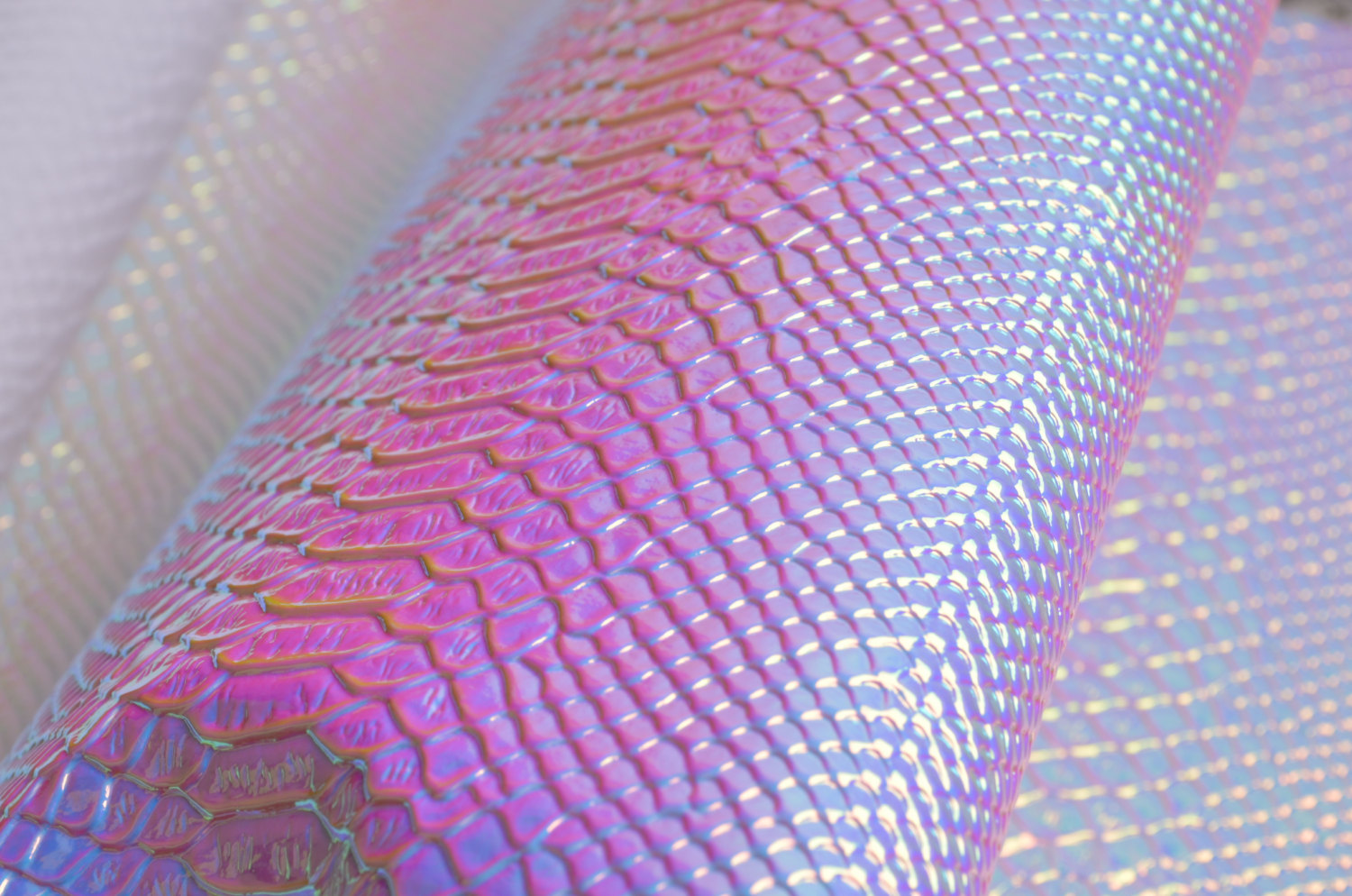 Holographic faux leather fabric from Etsy shop BransTak