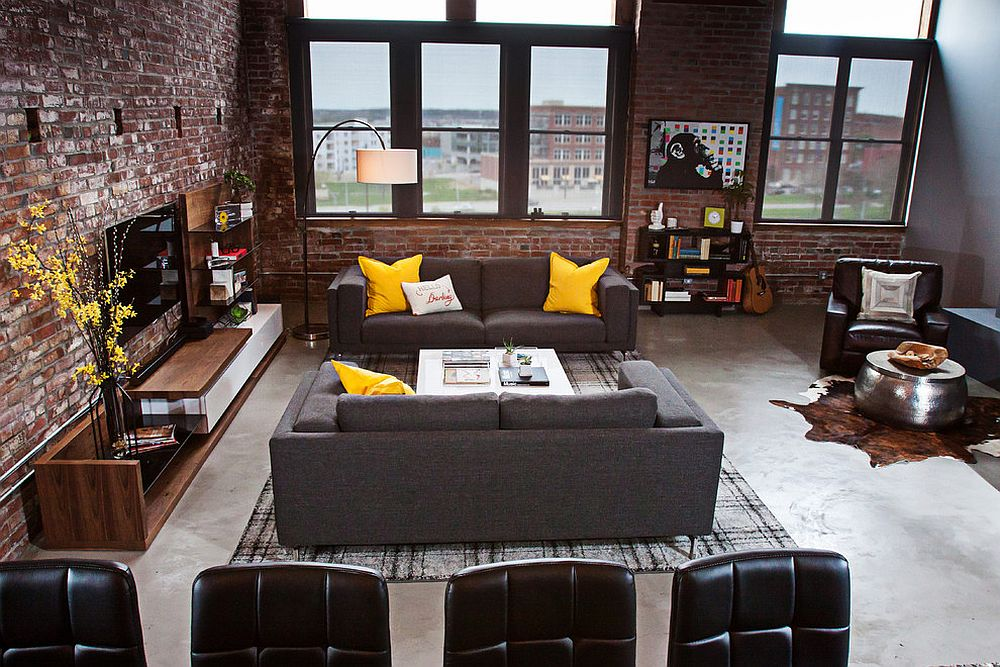 dashing urban loft uses contrasting textures to create coherent style. Black Bedroom Furniture Sets. Home Design Ideas