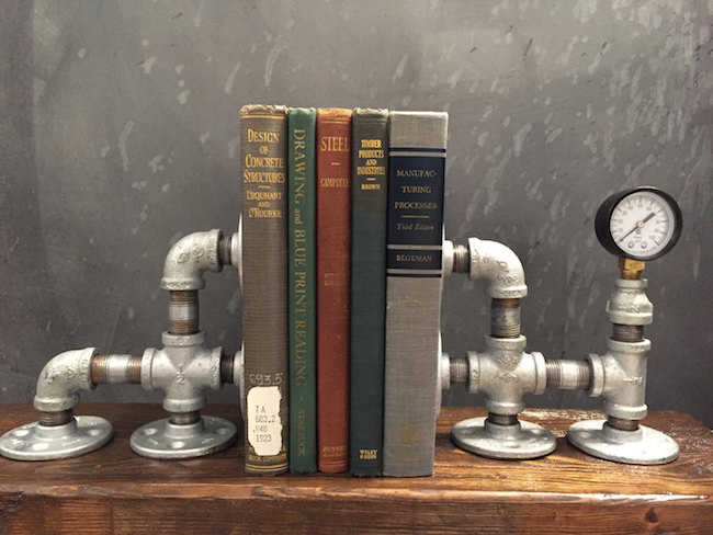 Industrial style bookend with pressure gauge