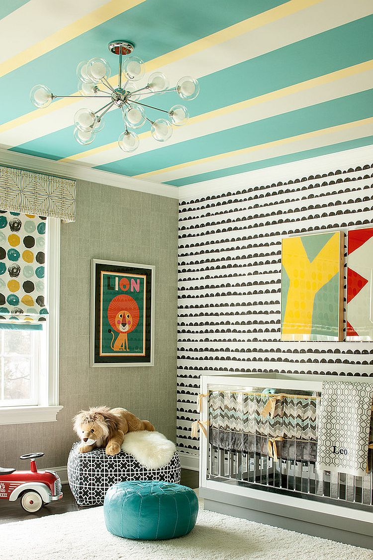 Ingenious and exciting way to add stripes to the nursery [Design: Karen B Wolf Interiors]