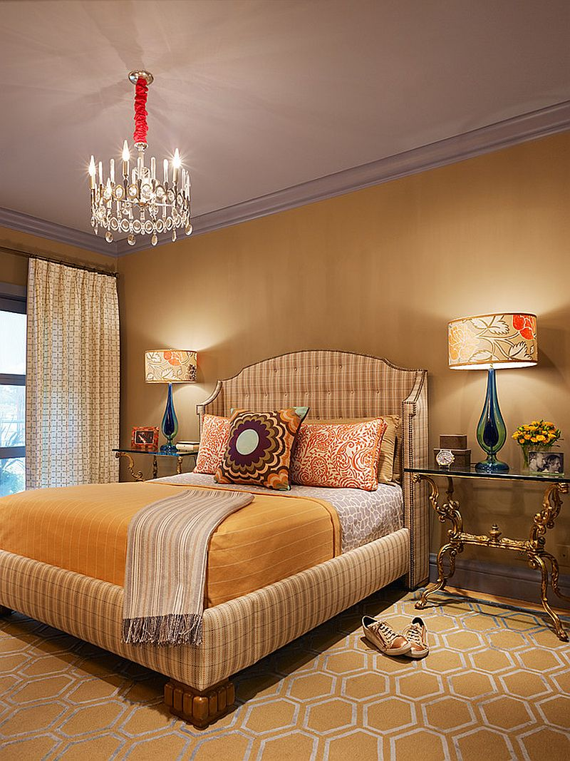 Lampshades add pattern to the gorgeous Victorian bedroom [Design: Jeffers Design Group]