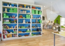 Large space works well for the home office and playroom