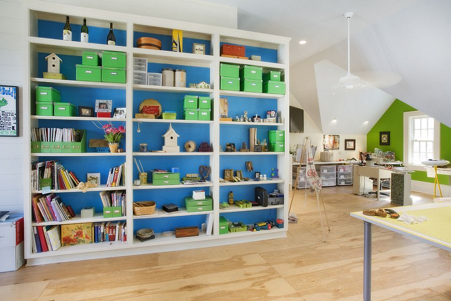 kids office. Large Space Works Well For The Home Office And Playroom [Design: Norris Architecture] Kids