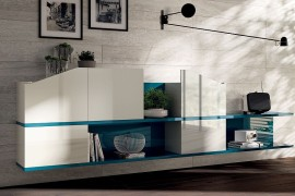 Living room shelves in Alaska Blue and white 270x180 Flux Swing: Dynamic Living Room Compositions with Modular Ease