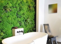 Living wall in a modern bathroom 217x155 Bring Living Room Style to Your Powder Room