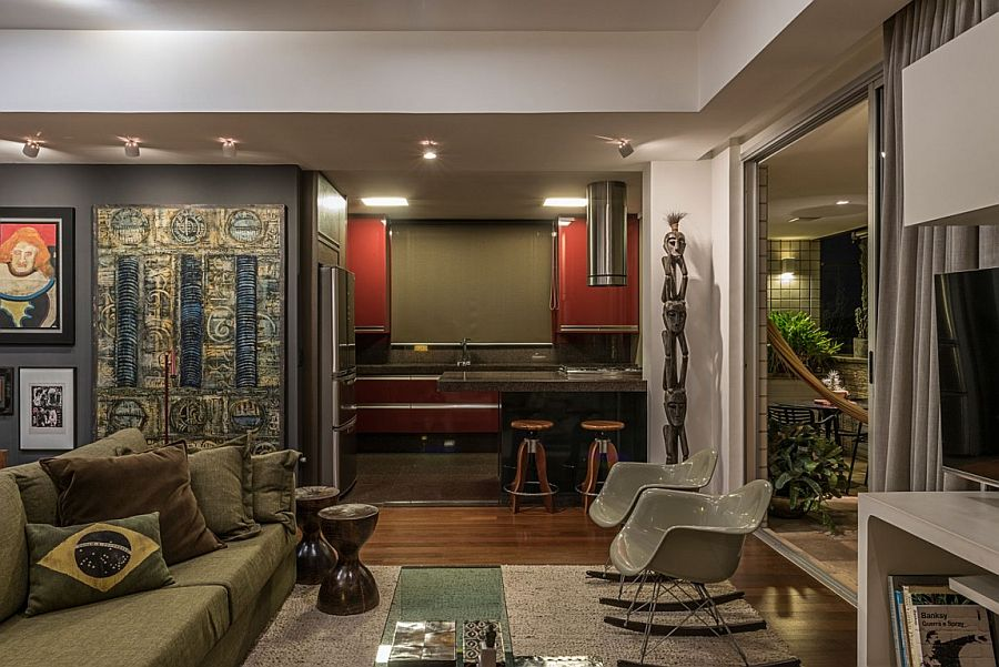 Local artwork and sculpture is a big part of this revitalized home