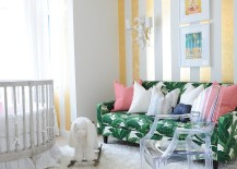Lovely gold stripes make a big impact in the white nursery