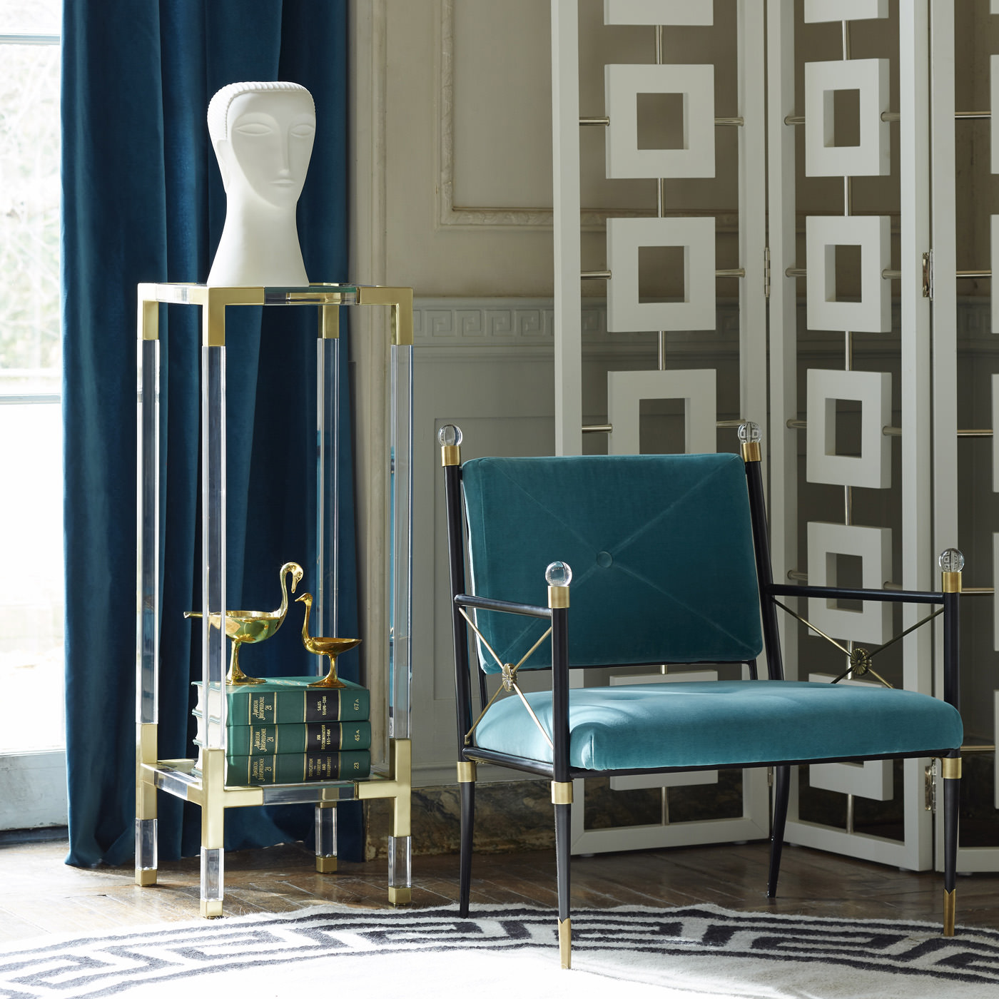 Lucite pedestal table from Jonathan Adler