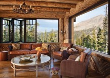 Majestic view of the mountains and greenery from the rustic Montana retreat