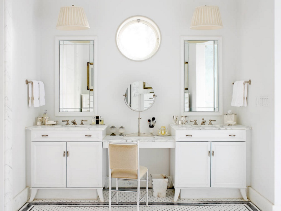 Marble-top vanity with seating
