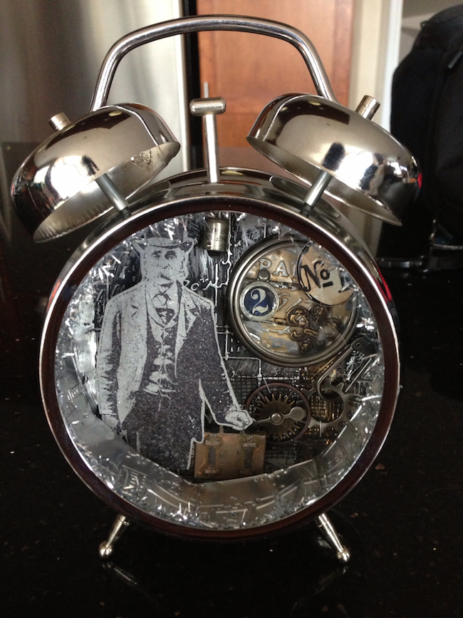Masculine vintage altered alarm clock