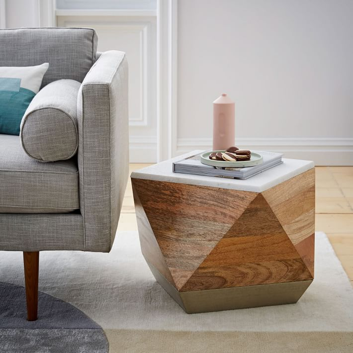Metal, wood and marble table from West Elm