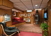 Midcentury basement with built-in reading nook