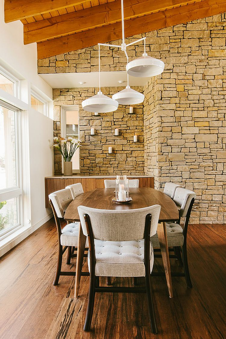 Midcentury dining room has a cheerful, modern ambiance