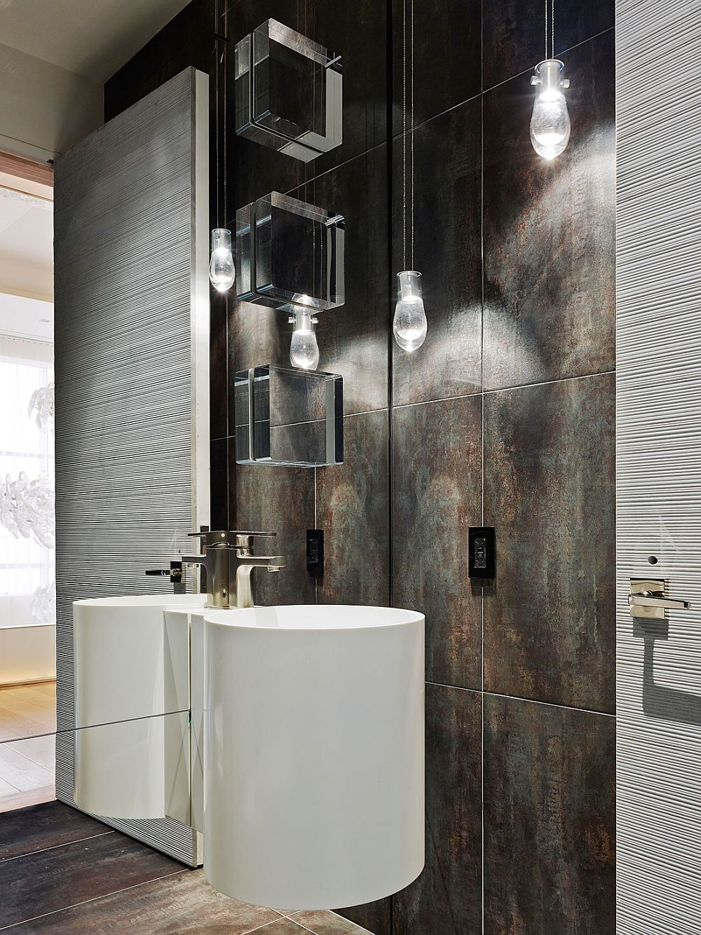 Minimal bathroom with smart lighting