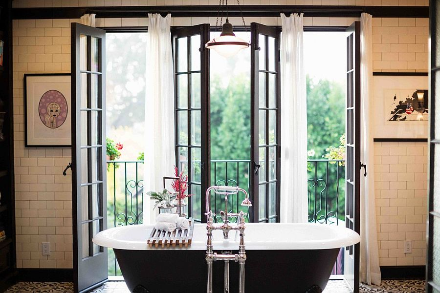 Modern bathroom with a Juliet balcony [Design: Deirdre Doherty Interiors]