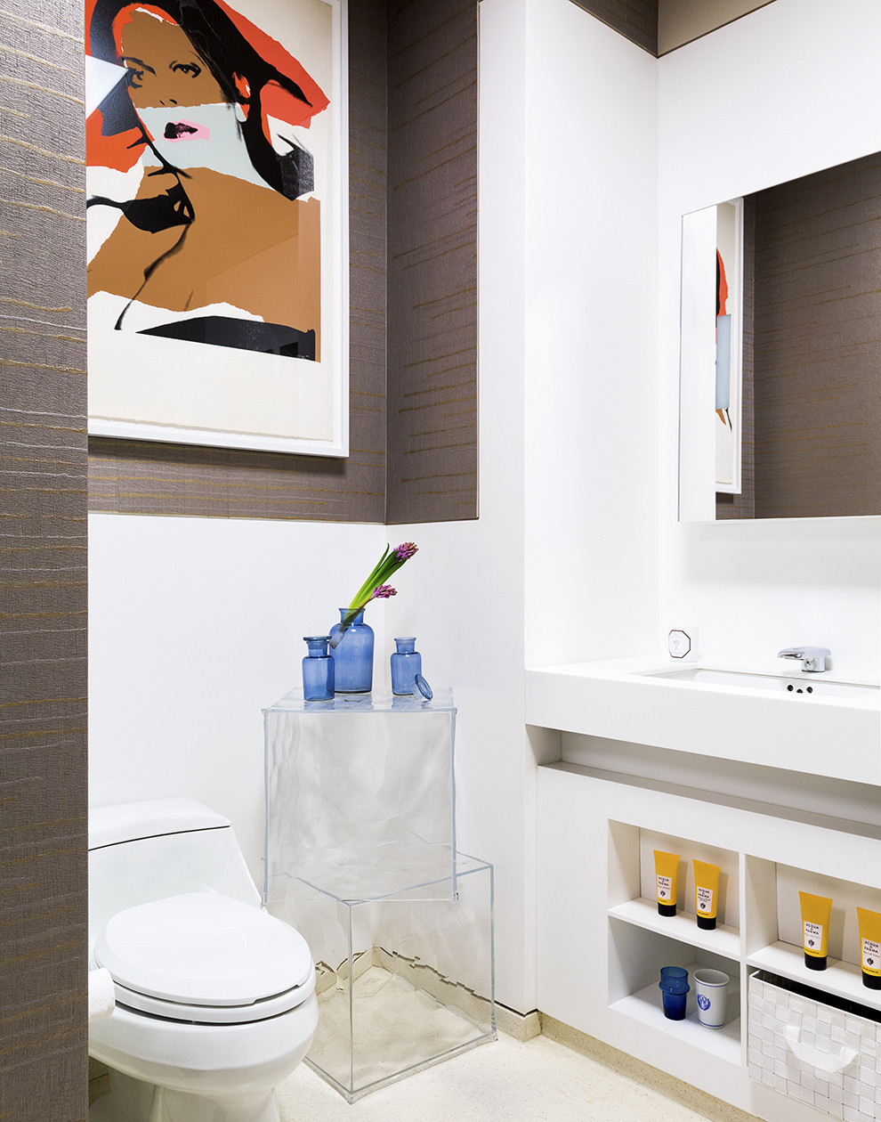 Modern bathroom with bright accents