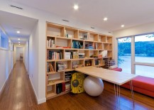 Modern home office easily morphs into a spacious playroom