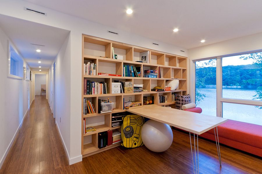 Modern home office easily morphs into a spacious playroom [Design: Resolution: 4 Architecture]